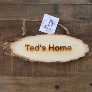 Wooden door sign