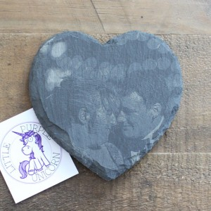 Slate Coaster Photo Heart1